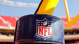 NFL logo on goalpost.