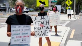 Florida teachers protest anti-mask mandates.