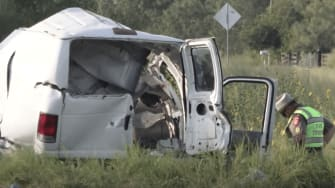 A van that crashed in Texas on Wednesday.