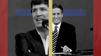 Tucker Carlson and Jon Stewart.