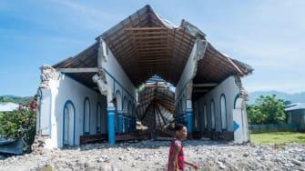 A destroyed church in Haiti.