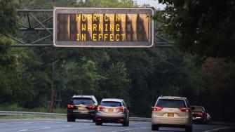 Hurricane warning sign in New York.