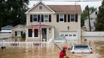 A flooded street in Helmetta, New Jersey.