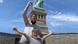 Shepherd and James Colver at the Statue of Liberty.