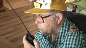 Bill Scott uses his ham radio.
