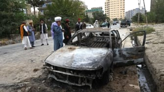 Car destroyed in Kabul