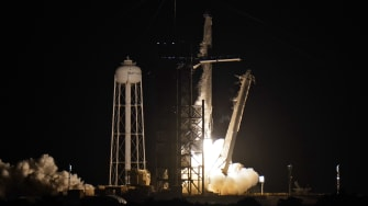 The SpaceX Falcon 9 lifts off on Wednesday night.