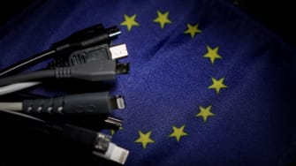 Mobile chargers next to European flag