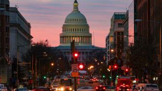 Sunrise over Capitol building.