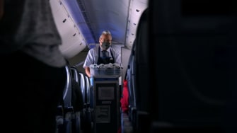 A United Airlines flight attendant.