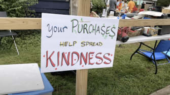 A sign at Susan Thompson-Gaines' yard sale.