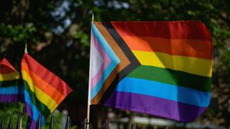 LGBTQ flags.