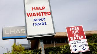 A hiring sign