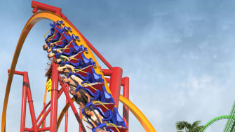 A mockup of the new Wonder Woman Flight of Courage roller coaster.