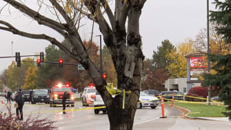 Police officers respond to a shooting in Boise.