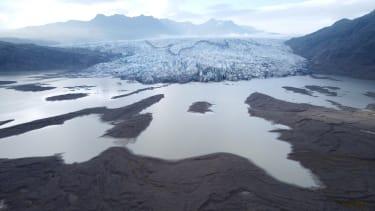 A glacier retreats.