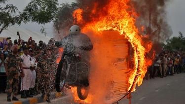 A fiery stunt.