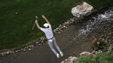 A jumping golfer.