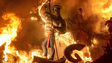 A burning figure.