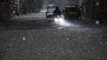 A waterlogged street.