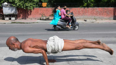 A man doing yoga.