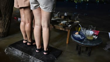 A flooding restaurant.