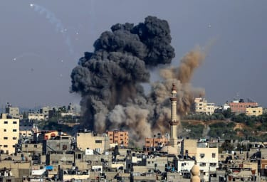 An explosion in Gaza on May 12.
