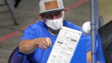 A volunteer with the Maricopa County vote audit.