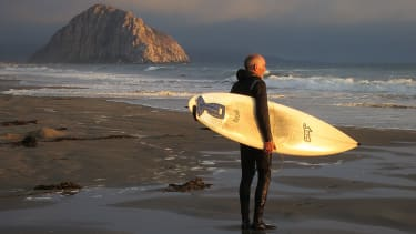 A surfer in Morro Bay, California.