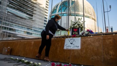 A memorial for the victims of Wednesday's mass shooting in San Jose.