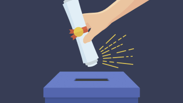 A diploma and a ballot box.