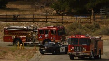 L.A. County Fire trucks.