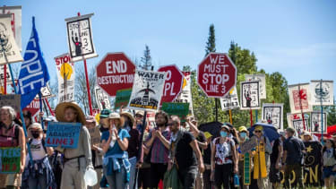 Protesters at the Line 3 pipeline pump station in Minnesota.