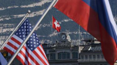 Russian, American, Swiss flags ahead of Biden-Putin meeting.