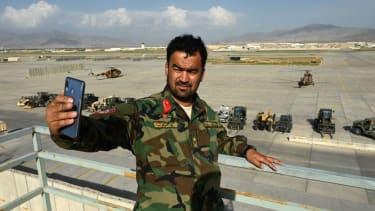 Iraqi officer takes selfie at Bagram Air Base