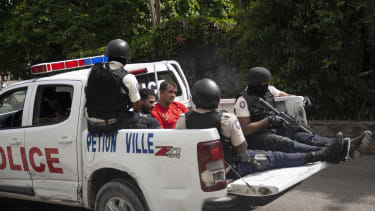 Suspects detained by Haitian police.