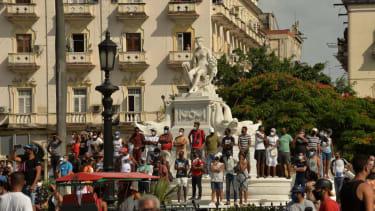 Protesters in Havana.