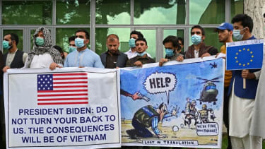 Afghan interpreters ask the U.S for help during a protest.