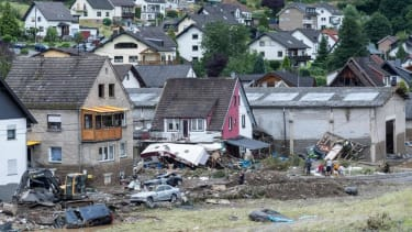 Homes in Schuld, Germany, that were damaged by severe flooding.