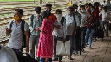 Line for COVID-19 testing in India.