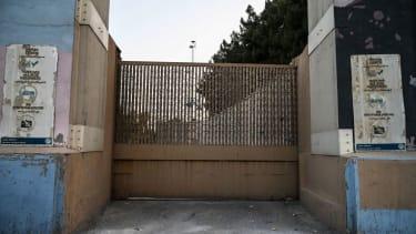 A closed gate at the U.S. Embassy in Kabul.