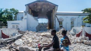 A building by Saturday's earthquake in Haiti.