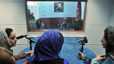 Female Afghan journalists.