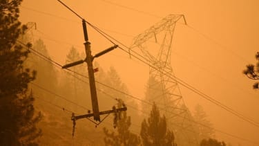 A power line damaged by the Dixie Fire.