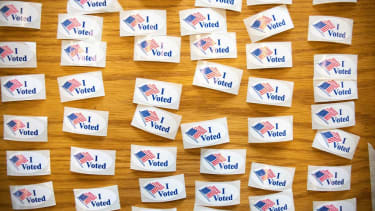 """""""I Voted"""" stickers."""