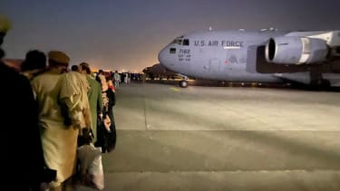 A U.S. Air Force plane at the Kabul airport.