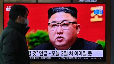 Kim Jong Un on a television screen.