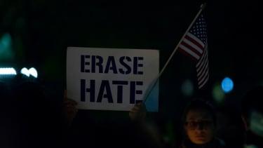Hate crime protestor.