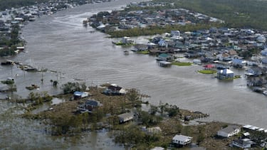A flooded town in Louisiana.