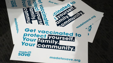Vaccination stickers.